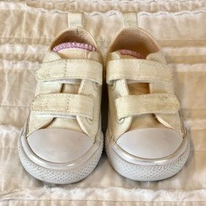 Converse White Iridescent Velcro Toddler Girl 5